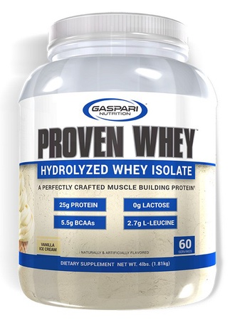 Gaspari Nutrition Proven Whey 100% Hydrolyzed Whey Isolate Vanilla - 4 Lb