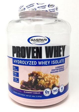 Gaspari Nutrition Proven Whey 100% Hydrolyzed Whey Isolate Blueberry Cobbler - 4 Lb