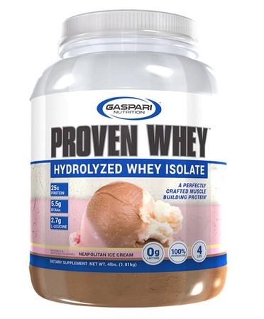 Gaspari Nutrition Proven Whey 100% Hydrolyzed Whey Isolate Neapolitan Ice Cream - 4 Lb