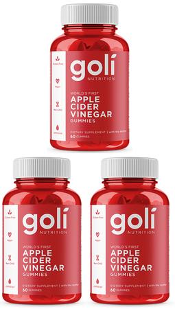 Goli Nutrition Apple Cider Vinegar Gummies - 3 x 60 Piece btls