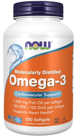 Now Foods Omega 3 1000 Mg (Molecularly Distilled Softgels) - 200 Softgels