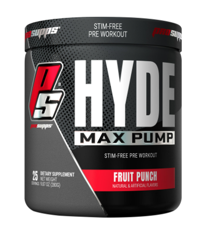 Pro Supps HYDE Max Pump Stim-Free Pre-Workout  Fruit Punch - 25 Servings
