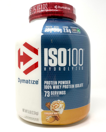 Dymatize ISO 100 Whey Protein Isolate  Cinnamon Bun - 5 Lb (73 Servings)  ($67.99 w/coupon code DPS10)