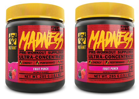 Mutant Madness Pre Workout Fruit Punch TWINPACK - 2 x 30 Serv Btls ($29.99 For 2 BTLS w/DPS10 Coupon code)