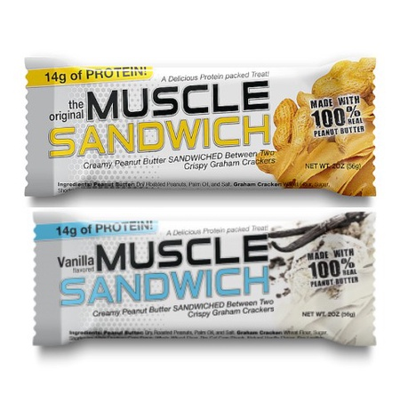 Muscle Sandwich Bars Variety Pack - 12 Bars (6 Each Flavor)