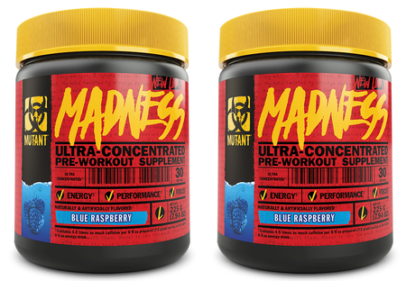 Mutant Madness Pre Workout Blue Raspberry TWINPACK - 2  x 30 Serv Btls ($29.99 For 2 BTLS w/DPS10 Coupon code)