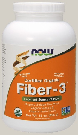 Now Foods Fiber-3 Intestinal Health - 100% Certified Organic - 16 Oz