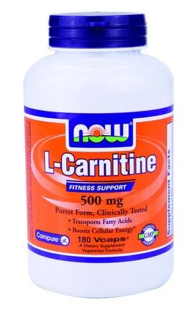 Now Foods L-Carnitine 500 Mg (Carnipure L-Carnitine Tartrate) - 180 Cap