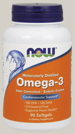 Now Foods Omega 3 1000 Mg Odor Controlled, Enteric Coated - 180 Softgels