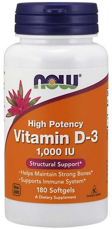 Now Foods Vitamin D-3 1000 IU - 180 Softgels