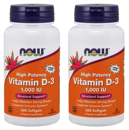 Now Foods Vitamin D-3 1000 IU - 2 x 360 Softgels (720 Softgels)
