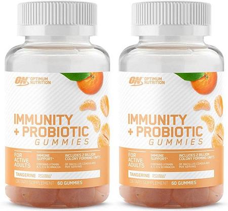 -Optimum Nutrition Immunity + Probiotic Gummies  Tangerine - 2 x 60 Gummies TWINPACK *$11.99 w/DPS10 coupon code