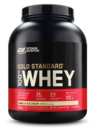Optimum Nutrition 100% Whey Gold Standard Vanilla Ice Cream - 5 Lb