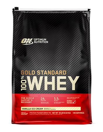 Optimum Nutrition 100% Whey Gold Standard Vanilla Ice Cream - 10 Lb Bag