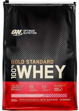 Optimum Nutrition 100% Whey Gold Standard Strawberry - 10 Lb Bag