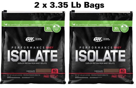 -Optimum Nutrition Whey Isolate Chocolate TWINPACK - 6.7 Lbs (2 x 3.35 Lb) $49.99 w/DPS10 code