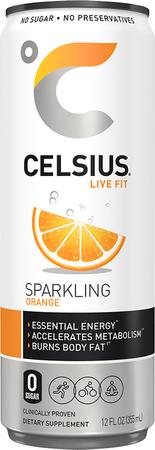Celsius RTD Orange Energy Drink 12oz  - 12 Cans