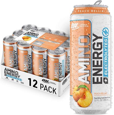 Optimum Nutrition Amino Energy Sparkling Rtd Peach Bellini  - 12 Cans