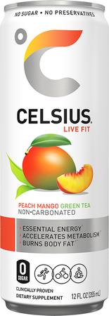 Celsius RTD Peach Mango Green Tea (Non-carbonated) 12oz - 12 Cans