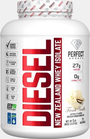 Perfect Sports DIESEL 100% New Zealand Whey Isolate  French Vanilla - 5 Lb