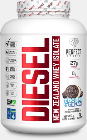 Perfect Sports DIESEL 100% New Zealand Whey Isolate  Cookies 'n Cream - 5 Lb