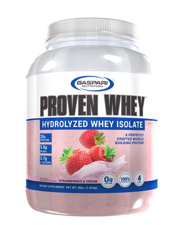 Gaspari Nutrition Proven Whey 100% Hydrolized Isolate Strawberries & Cream - 4 Lb