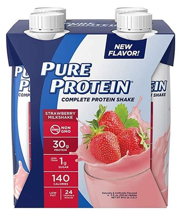 Pure Protein Protein Shake 30g  Strawberry - 4 Pack  ($6.39 w/DPS10 coupon code)