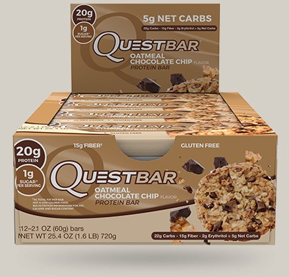 Quest Bar Oatmeal Chocolate Chip - 12 Bars  *Best by 11/20