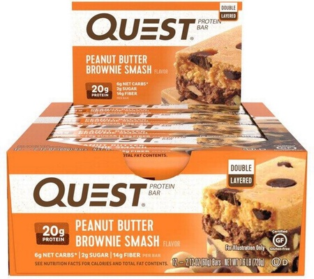 Quest Bar Peanut Butter Brownie Smash - 12 Bars *Best by 1/21