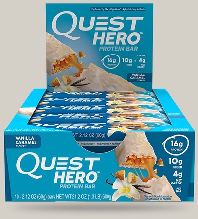 Quest Hero Bar Vanilla Caramel - 10 Bars