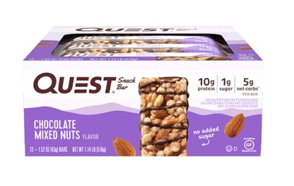 -Quest Snack Bars Chocolate Mixed Nuts - 12 Bars  *Best by 2/21