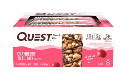 -Quest Snack Bars Cranberry Trail Mix - 12 Bars  *Best by 1/21