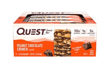 -Quest Snack Bars Peanut Chocolate Crunch - 12 Bars  *Best by 2/21