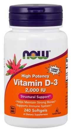 Now Foods Vitamin D-3 2000 IU - 240 Softgels