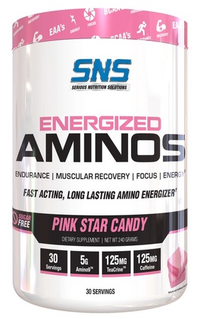 SNS Serious Nutrition Solutions Energized Aminos Pink Star Candy - 30 Servings ($18.99 w/coupon code DPS10)