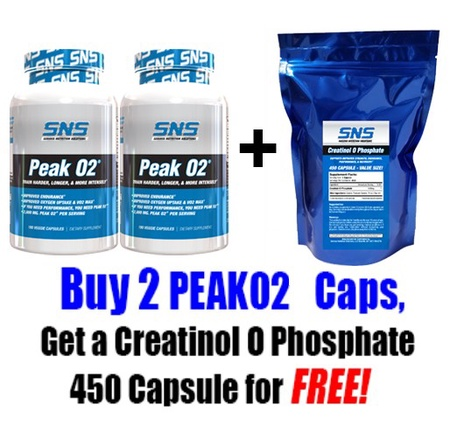 SNS Serious Nutrition Solutions Peak02 TWINPACK w/Free Creatinol O Phosphate 450 Cap - 2 x 180 Cap