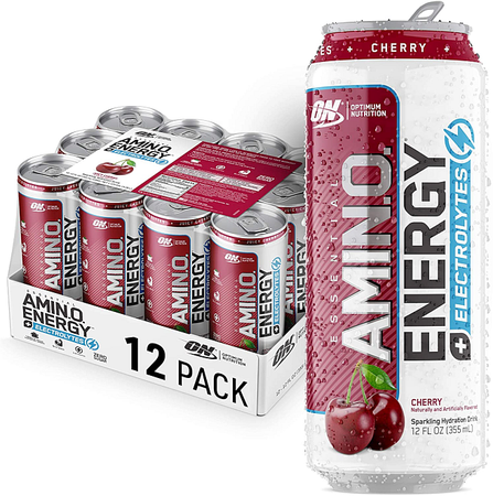 Optimum Nutrition Amino Energy Sparkling Rtd  Juicy Cherry- 12 Cans