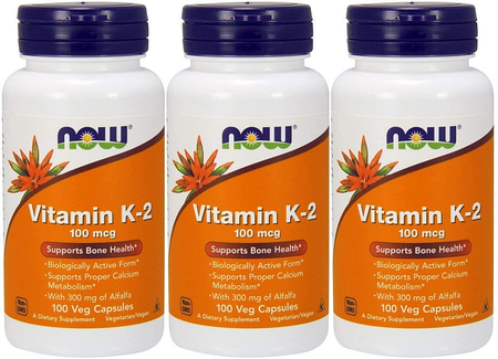 Now Foods Vitamin K-2 100 Mcg - 3 x 100 Cap  3 Pack