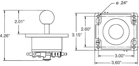 Black 4-Way Ball Handle Joystick