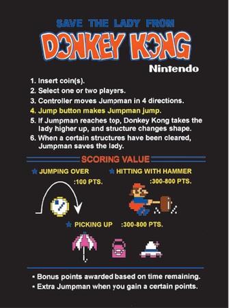 Donkey Kong CPO Instruction Card