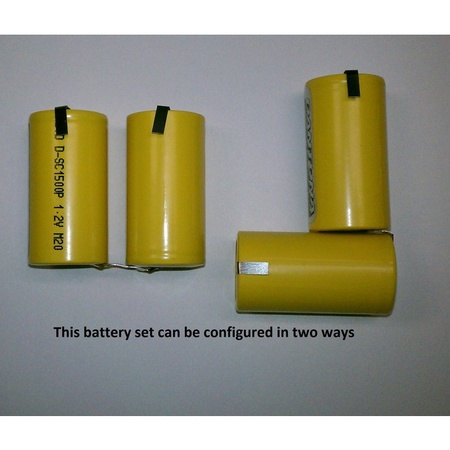 Battery Set, 2 Sub C Ni-Cad 2.4 Volt